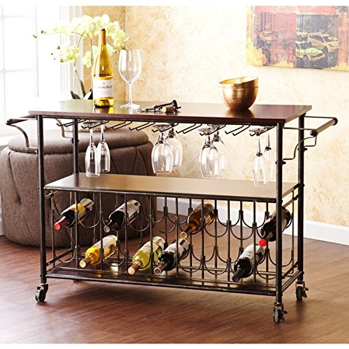 Tuscany Espresso Black Wine Bar Cart Serving Table Includes Nine 9 Hanging Glass Racks for Approximately 18 to 22 Glasses