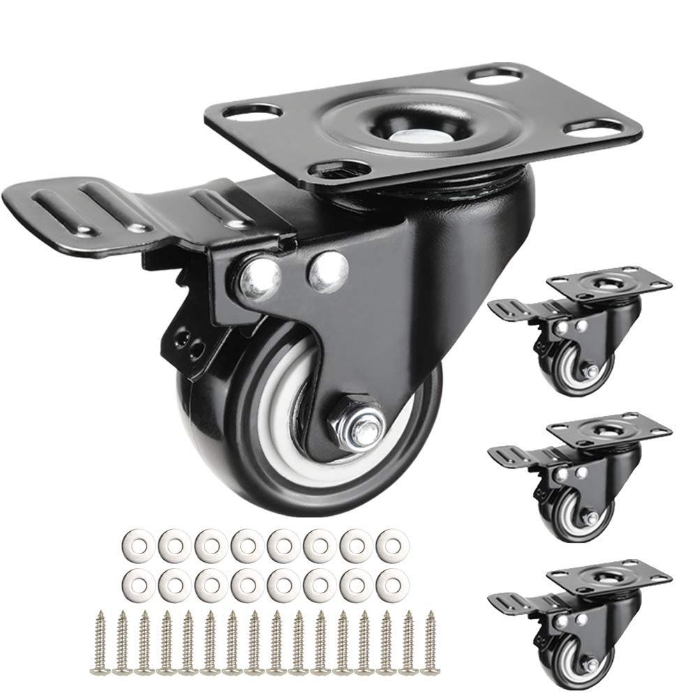 2.5'' Swivel Caster Wheels,Heavy Duty Locking Casters Set of 4,Polyurethane 800Lbs Swivel Wheels for Large Cart,Cabinet,Workbench(2.5 Inches,Black,with Brake)