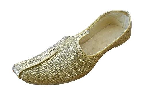 kalra Creations Hombre tradicional hecha a mano rexine indio boda zapatos, color Dorado, talla 40.5 EU M