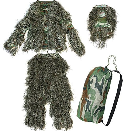 Yaheetech Camo Woodland Camouflage Forest Design Ghillie Suit, 4-Piece, (Ghillie Kit)