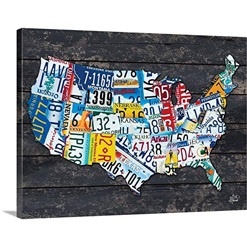 (Brittney Hallowell Solid-Faced Canvas Print Wall Art Print Entitled USA License Plate Map 24