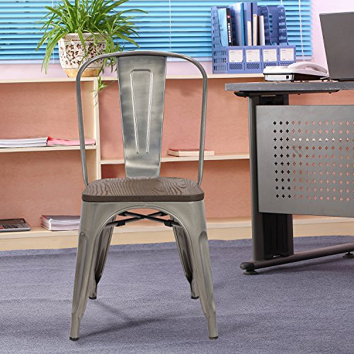 LCH Industrial Metal Wood Top Stackable Dining Chairs, Set of 4 Vintage Indoor/Outdoor Stackable Bistro Cafe Chairs with Back, Glossy Steel by LCH (Image #6)