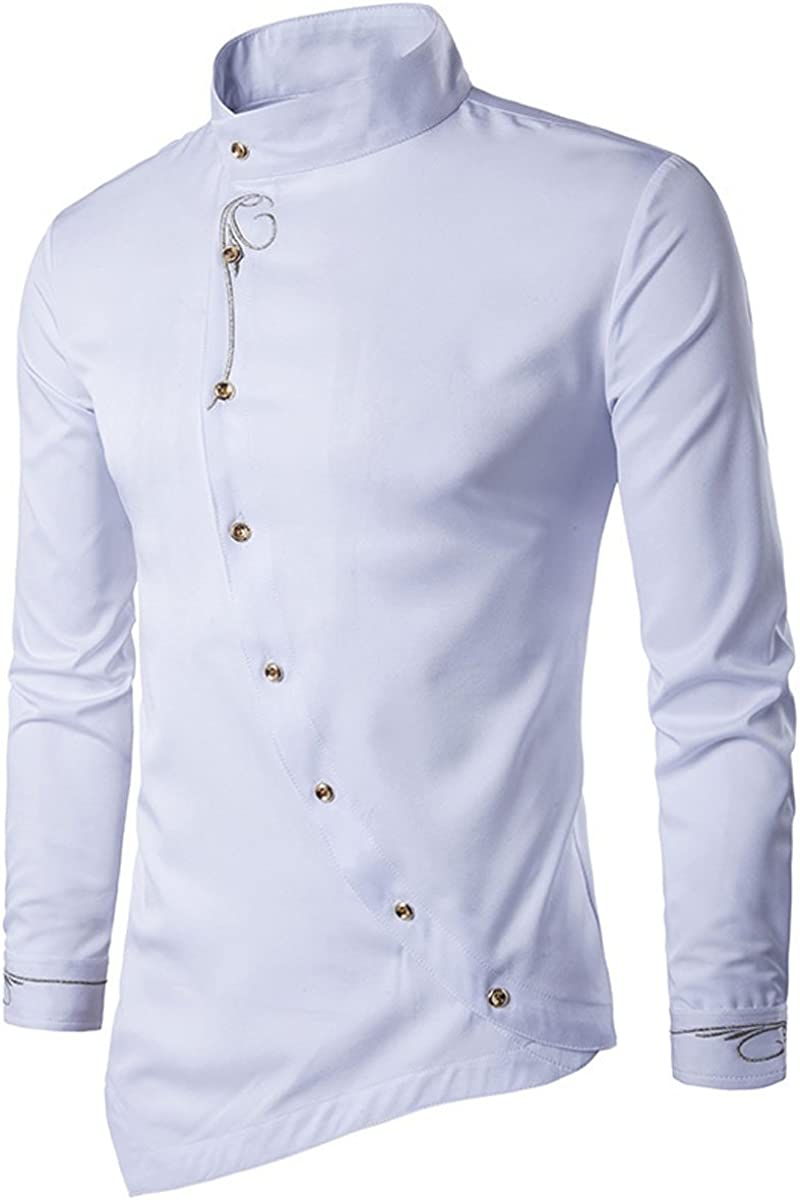 Casual Business Formal Slim Fit Shirt. LANMWORN Men/'s Long Sleeve Unique Ramp Button Cotton Irregular Check Dress Shirts