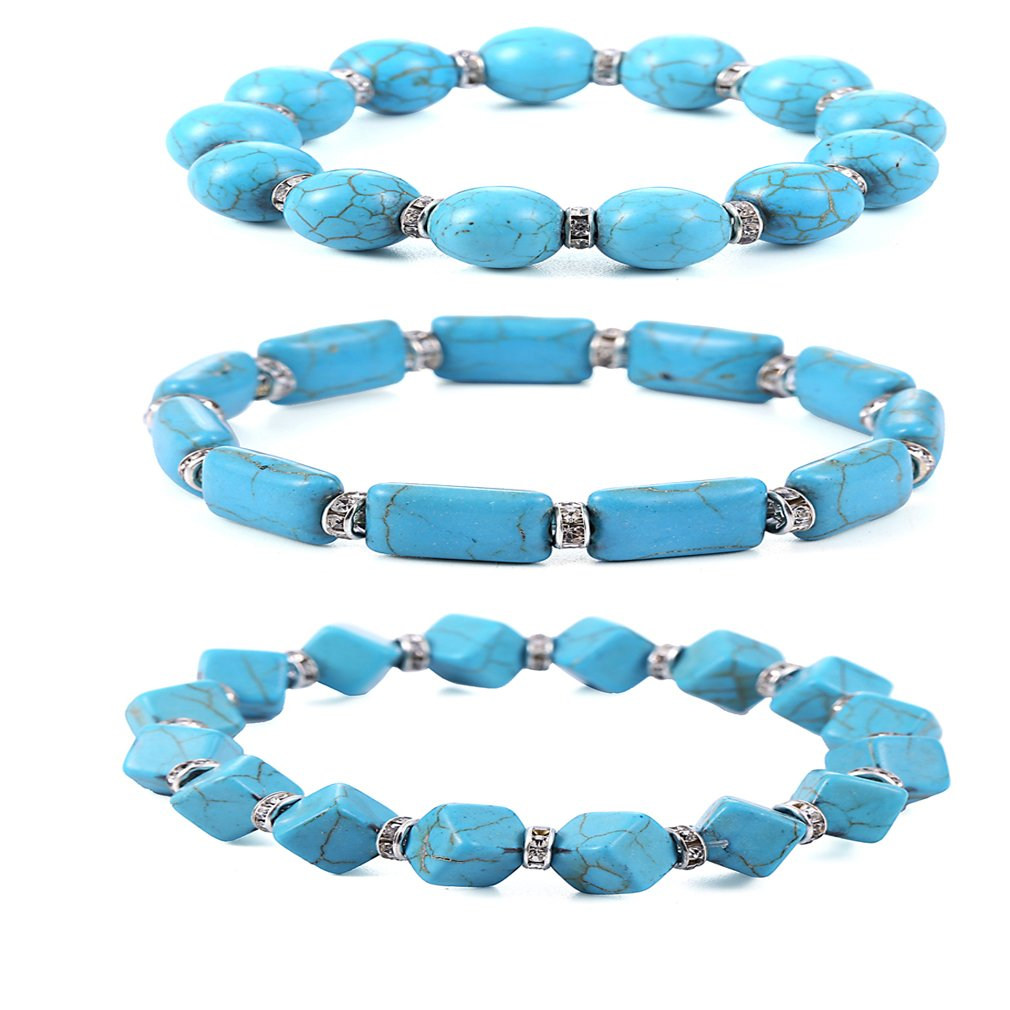 SUNSCSC Handmade Bangle Bracelet Summer Beach Shell Conch Turquoise Pearl Party Jewelry for Women Girls (1 Set Bracelet)