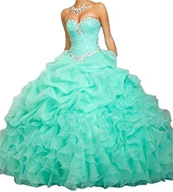 8d26fb73a12 BanZhang Women s Quinceanera Dresses Aqua Ball Gown Beaded Long Prom Dress  B314 Aqua 2
