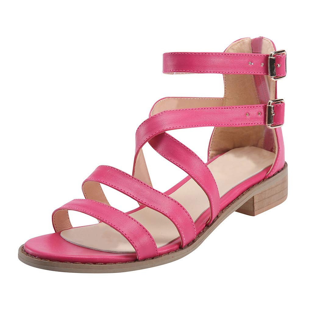 Sandals for Women THENLIAN Ladies Buckle Strap Sandals Ankle Square Heel Beach Open Toe Beach Shoes(39, Red)