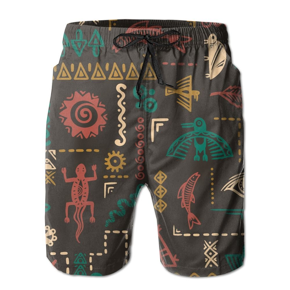 Native American Symbols Ornament Summer Casual Style Adjustable Beach Home Sport Shorts