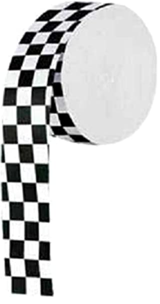 Single Pack Crepe Paper Streamer Roll QuotRacing Finish Line Checkered Squares Designquot