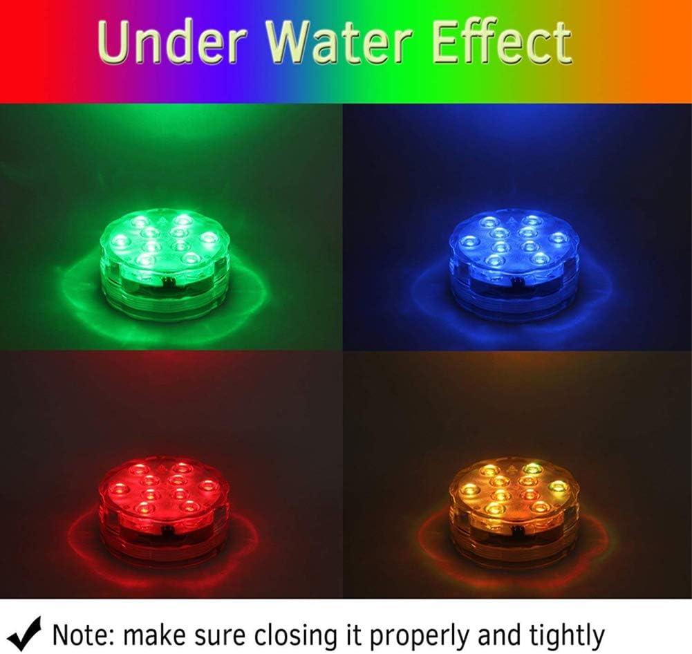 Luz subacu/ática con mando a distancia 4 unidades RGB Multi cambio de color impermeable LED subacu/ática iluminaci/ón de estanque iluminaci/ón para jarr/ón Base Fiesta boda Navidad piscina