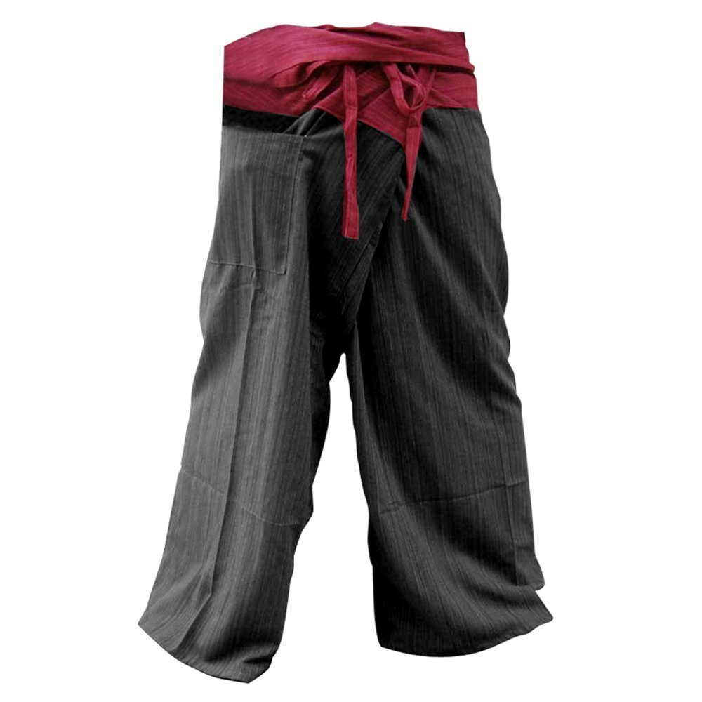 Deluxe Adult Costumes - Red & black cotton 2-tone Thai fisherman slop pirate pants