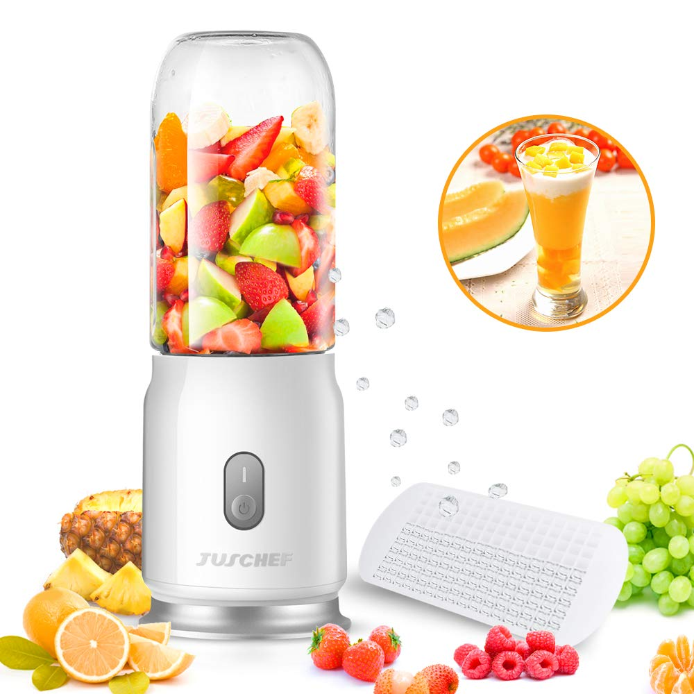 Portable Blender, Juschef USB Rechargeable Travel Blender, Personal Blender for Shakes and Smoothies, Fast Blending, Detachable Cup, Safety Design, Speed 17,500 rpm (FDA Approved, BPA Free)