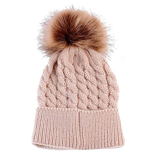 Amazon.com  Baby Kids Cute Warm Winter Hats Furry Ball Top Cable ... 2eea690569f