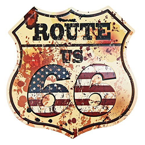 NEW DECO Route US Road 66 Polygon Metal Tin Sign Vintage Retro Wall Decor Art ()