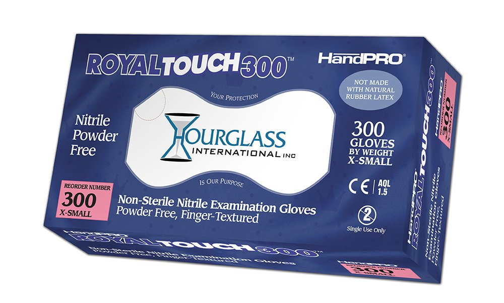 HandPRO 300-CASE RoyalTouch300 Nitrile Gloves, Exam, Powder-Free, XS, Royal Blue, 300 per Box, Case of 10 Boxes (Pack of 3000)