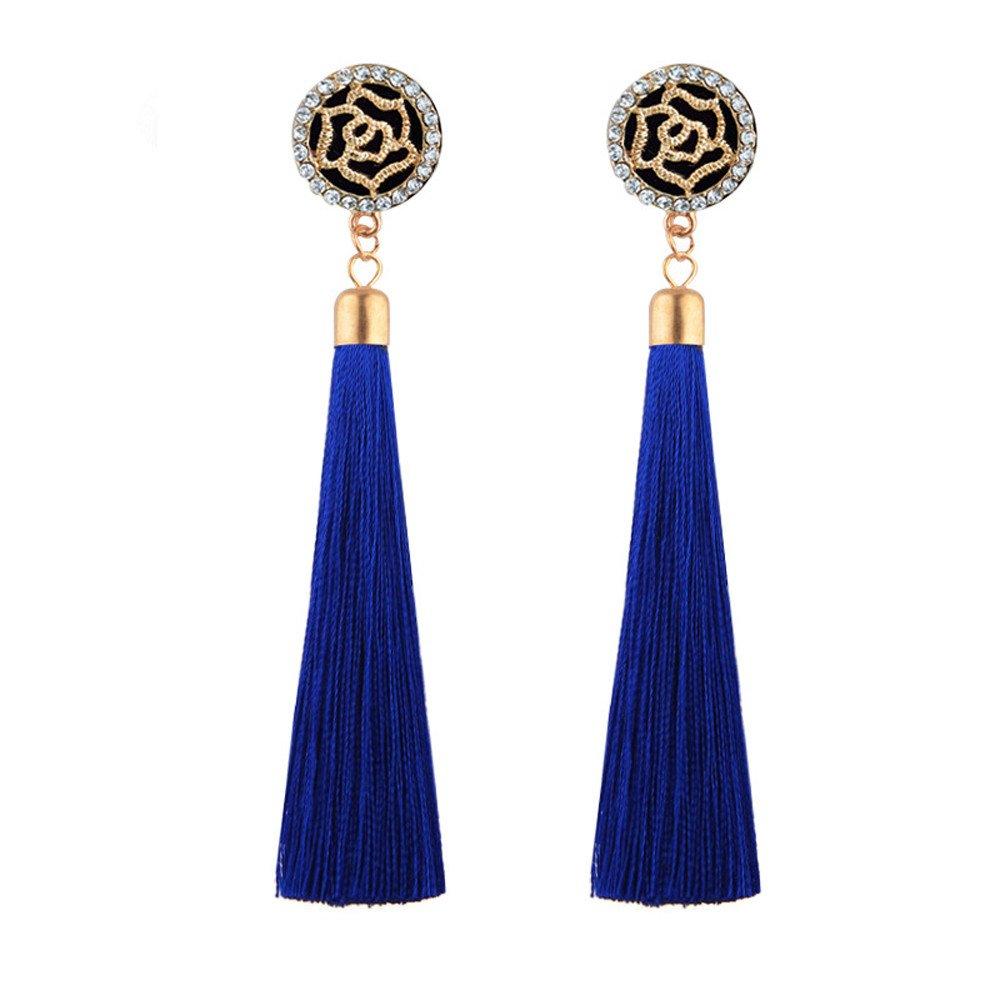 BSGSH Bohemia Long Tassel Drop Earrings Fringed Dangle Flower Stud Earring for Women Girls