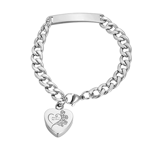 "Cremation Ashes Jewellery Keepsake Bracelet Urn /""Always in my Heart/"" Engravable"