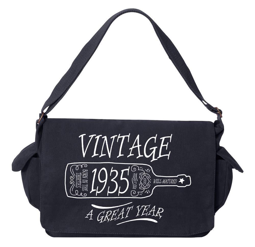 Tenacitee Aged Like a Fine Wine 1935 Flamingo Raw Edge Canvas Messenger Bag
