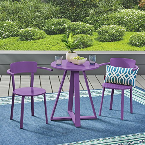 Great Deal Furniture Kate Outdoor Iron Bistro Set, Matte Purple