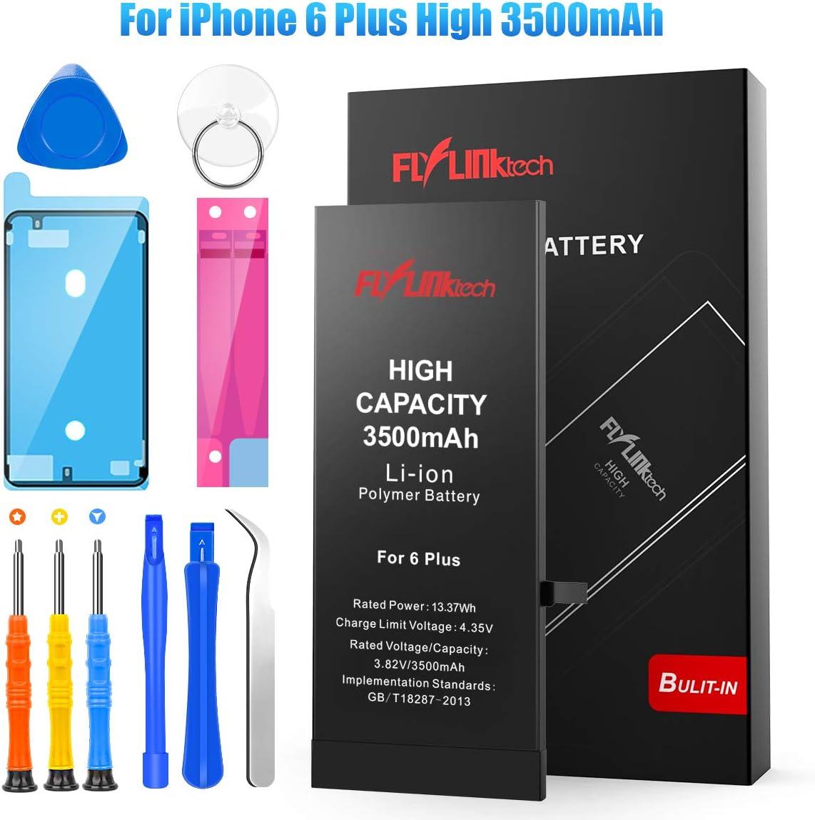 Batería para iPhone 6 Plus 3500mAH Reemplazo de Alta Capacidad, FLYLINKTECH Batería con 20% más de Capacidad Que la batería Original y con Kits de Herramientas de reparación, Cinta Adhesiva