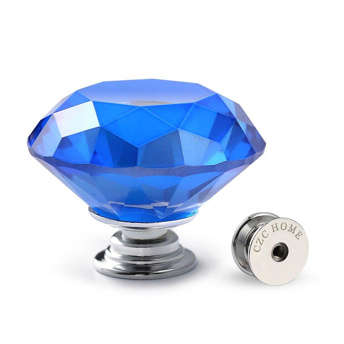 CZC Home 10 PCS Diamond Crystal Glass Pull Handle Cabinet Knobs Cupboard Drawers Cabinet Dresser Bookcase Wardrobe (40mm, Dark Blue)