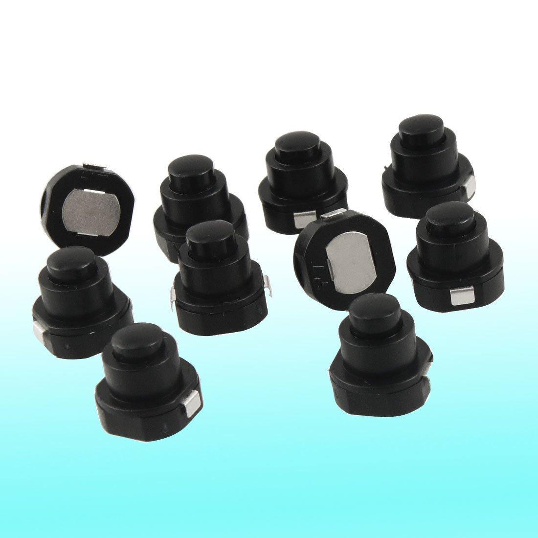 10pcs 1712KD Black Flashlight Latching Push Button Switch DC 30V BR