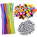 550 Pcs Craft Supply Set Includes 250Pcs Pompoms Assorted Colors, 100Pcs Pipe Cleaners Chenille Stem, 200Pcs Self-sticking Wiggle Googly Eyes for DIY Art Craft Decorations