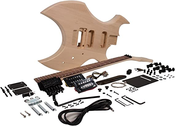 Seismic Audio 6 String Premium Warlock Style DIY Electric Guitar Unfinished Luthier Project Kit (SADIYG-16)