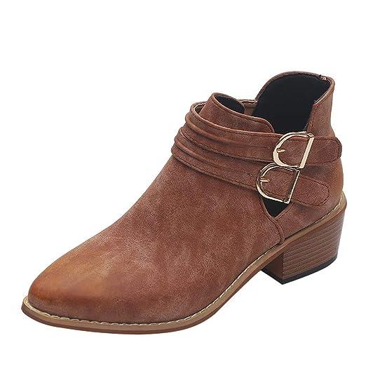 Viernes Negro JiaMeng Zapatos Puntiagudos Zapatos de Color Puro Botines con Hebilla Correa Tacón Cuadrado Individuales Invierno Zapatos Al Aire Libre Ocio: ...