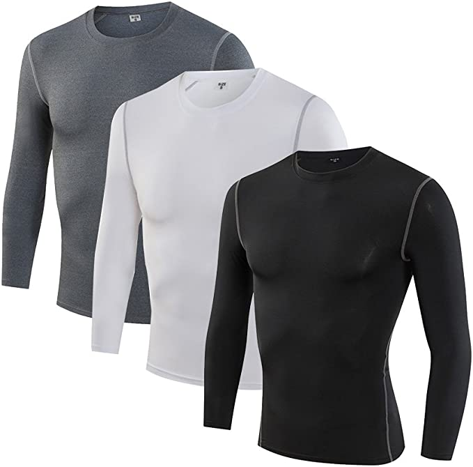 Kemrrey Mens Long Sleeve Cool Dry Breathable Base Layers Compression Shirt Tee
