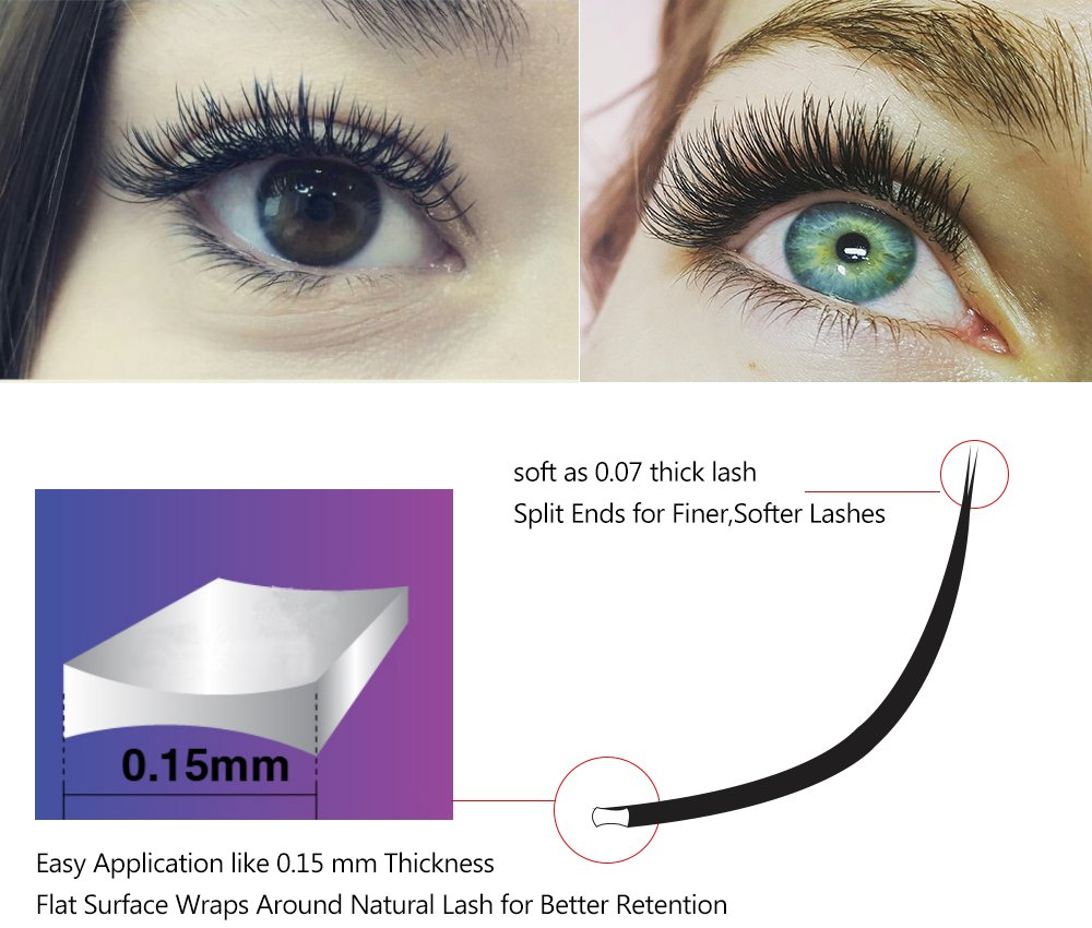 72eb68dadf6 Amazon.com : Qeelasee Flat Eyelash Extensions 0.15mm C Curl 10mm 12 Lines  Ellipse Lashes Eyelash Extensions Professional Salon Use Flat Lash Korea  Materials ...