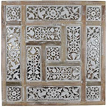 Amazoncom Indian Heritage Wooden Wall Panel Mango Wood Mirror With