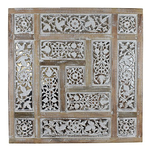 Indian Heritage Wooden Wall Panel Mango Wood Mirror with Carved Panel Design in Natural Wood and White Distress Finish