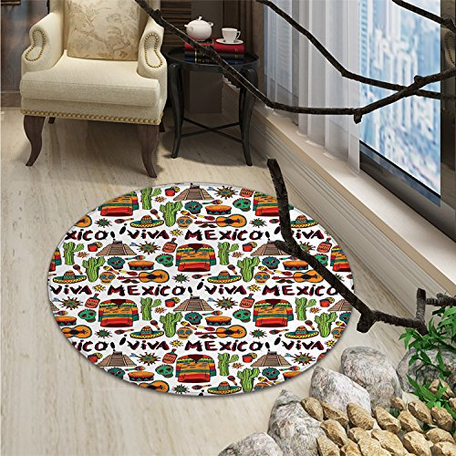 Mexican Decorations Round Area Rug Viva Mexico with Native Elements Poncho Tequila Salsa Hot Peppers ImageOriental Floor and Carpets Multi by smallbeefly