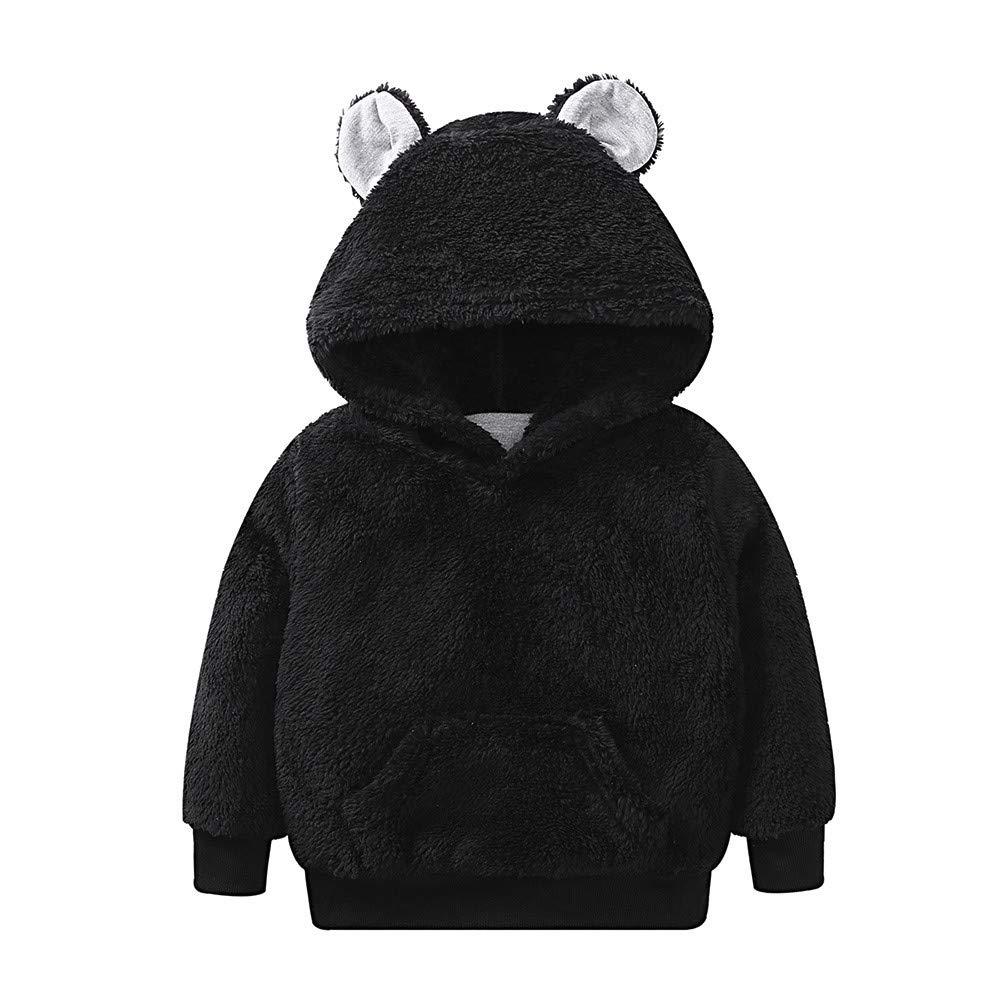 KONFA Teen Toddler Baby Boys Girls Winter Warm Clothes,Hooded Fluffy Jacket Pocket Coat,Kids Cartoon Bear Snowsuit Set