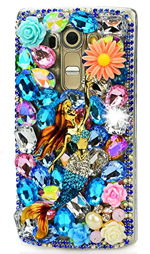LG Stylo 3 Case, STENES Luxurious Crystal 3D Handmade Sparkle Diamond Rhinestone Clear Cover for LG Stylus 3 / Stylo 3 with Retro Bowknot Anti Dust Plug - Pretty Mermaid Flowers / Colorful