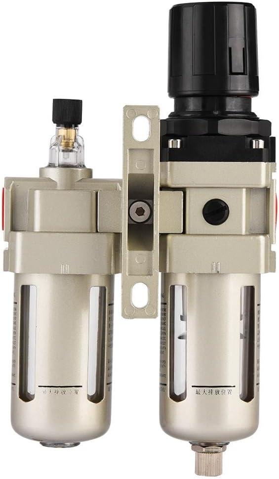 AC3010-03 Air Compressor Filter Aluminum Alloy Compressed Air Filter Pressure Regulator Combo Moisture Trap 3//8 with Gauge