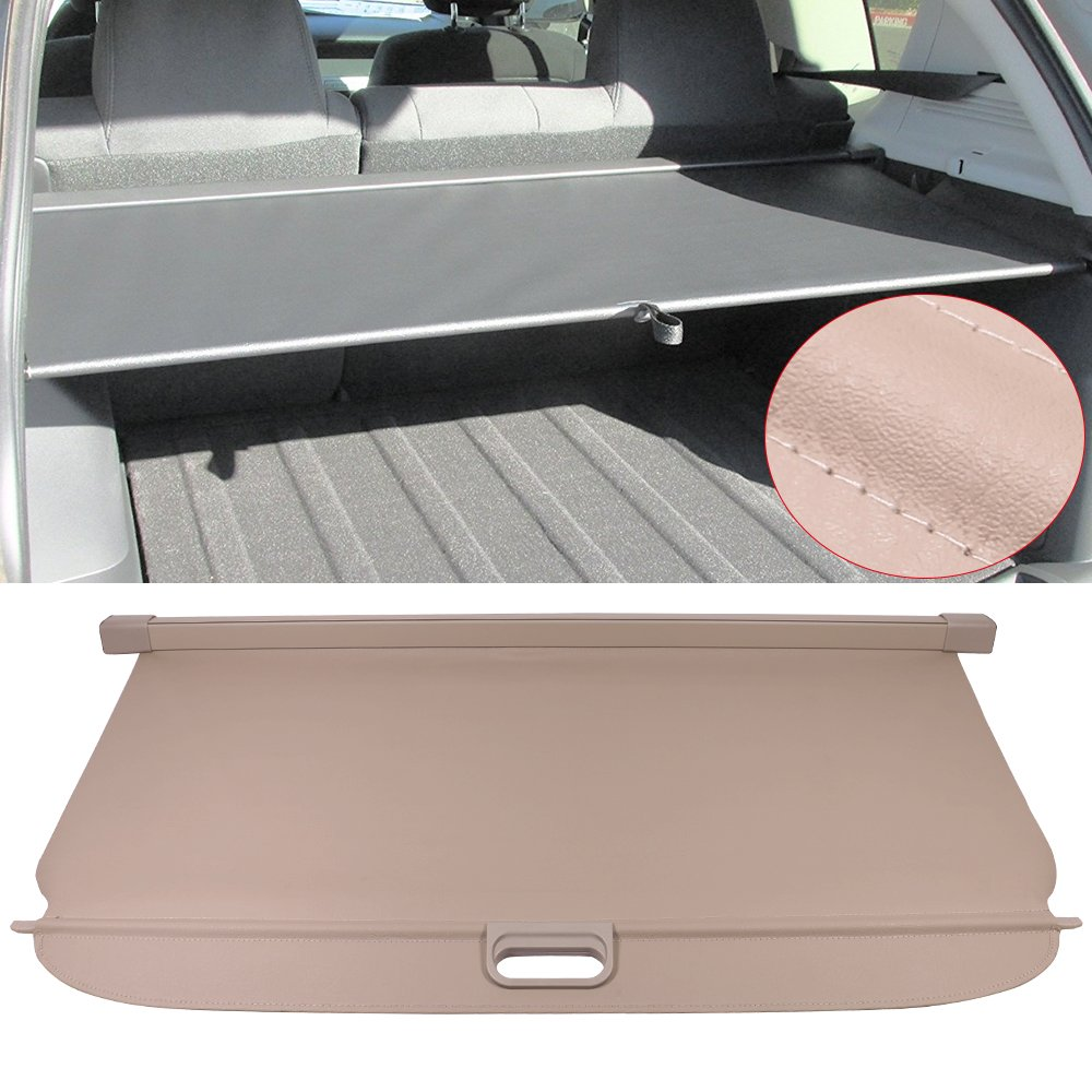 Cargo Cover Fits 2007-2017 Jeep Compass & Patrior   Beige PU Tonneau Cover Retractable By IKON MOTORSPORTS   2008 2009 2010 2011 2012 2013 2014 2015 2016