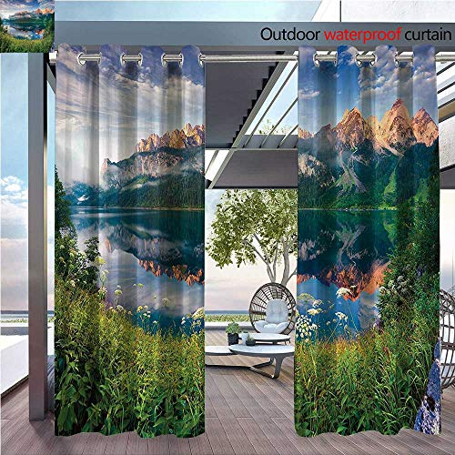 (DESPKON Active Printing Fabric Polyester Material Sunny Summer Morning The Lake Austrian Alps Crystal Mirroring Water iry Sea for Outdoor Wedding W120 x L96 INCH)