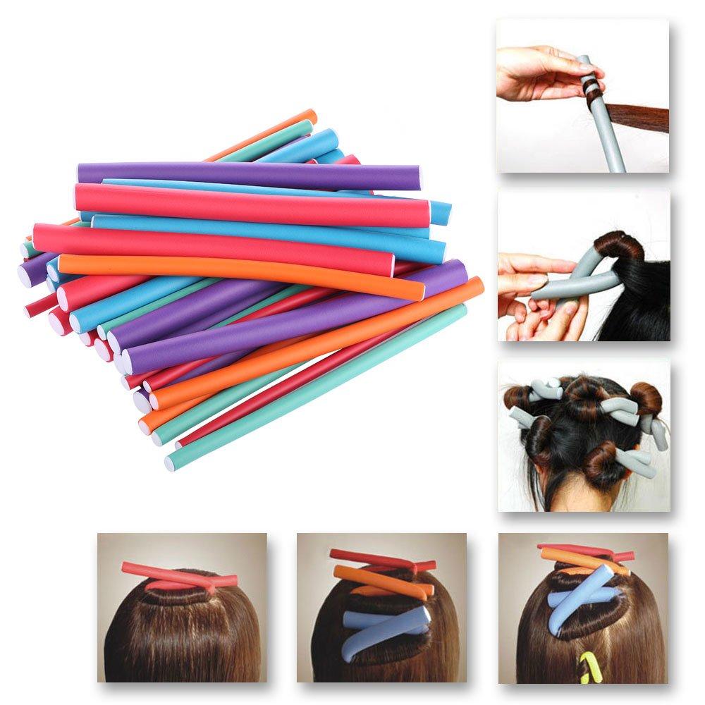36pcs bigodini Spongia schiuma Twist riccioli DIY Styling Rollers capelli flessibili curling canne da parrucchiere strumento Anself W4394-HMMFBA