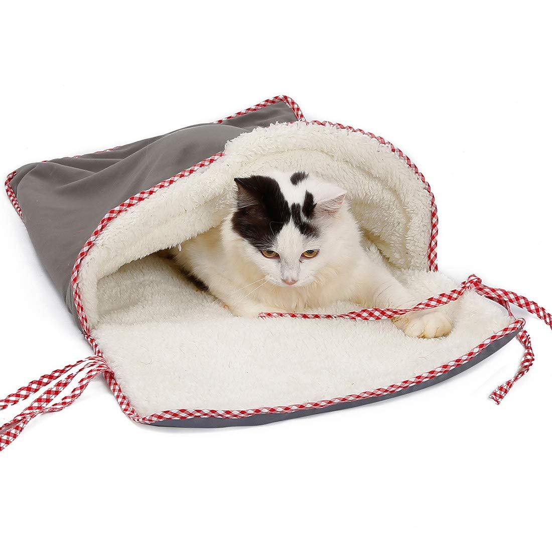 Pinji Suave Mascota Sofá Cojín Saco de Dormir para Gatos Calientes Papel de Sonar Gato Jugando Túnel Casa cálida Invierno Jaula de Hierro Saco de Gatos ...
