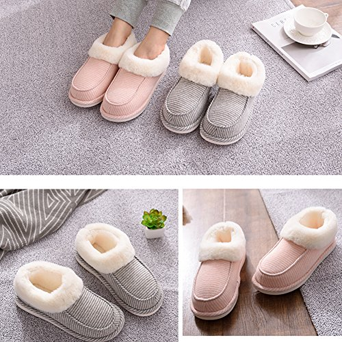 Bootie For House Anti Outdoor Lining Furry Sole and Women and Moodeng With Plush Indoor Men Pinstripe Slippers Khaki Slip Knit RqvxPwA