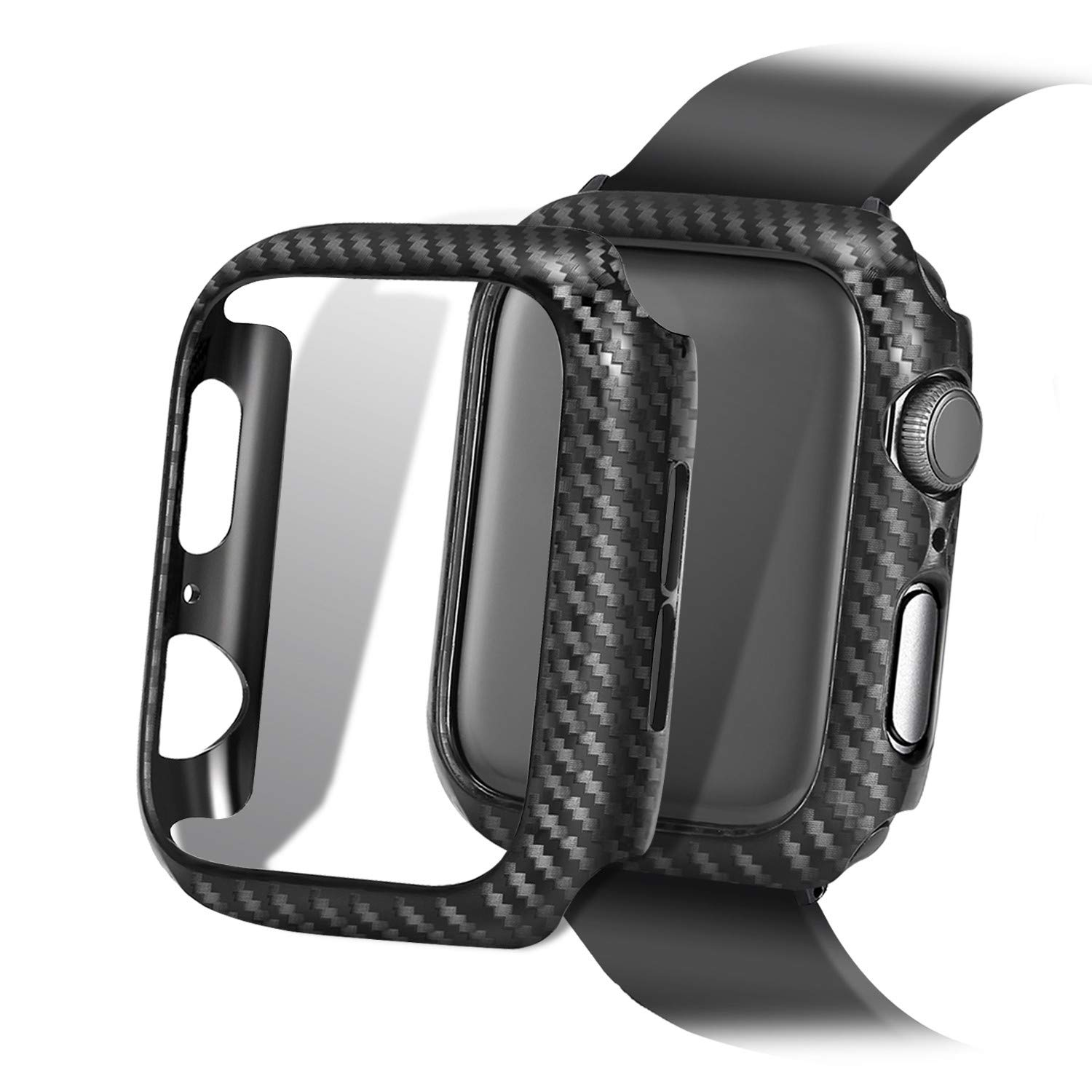 Carbon Fiber Texture Apple Watch Case 44mm Series 5 Series 4 - Hard PC Frame Case High-Gloss/Twill Weave Finish Protective Bumper Cover