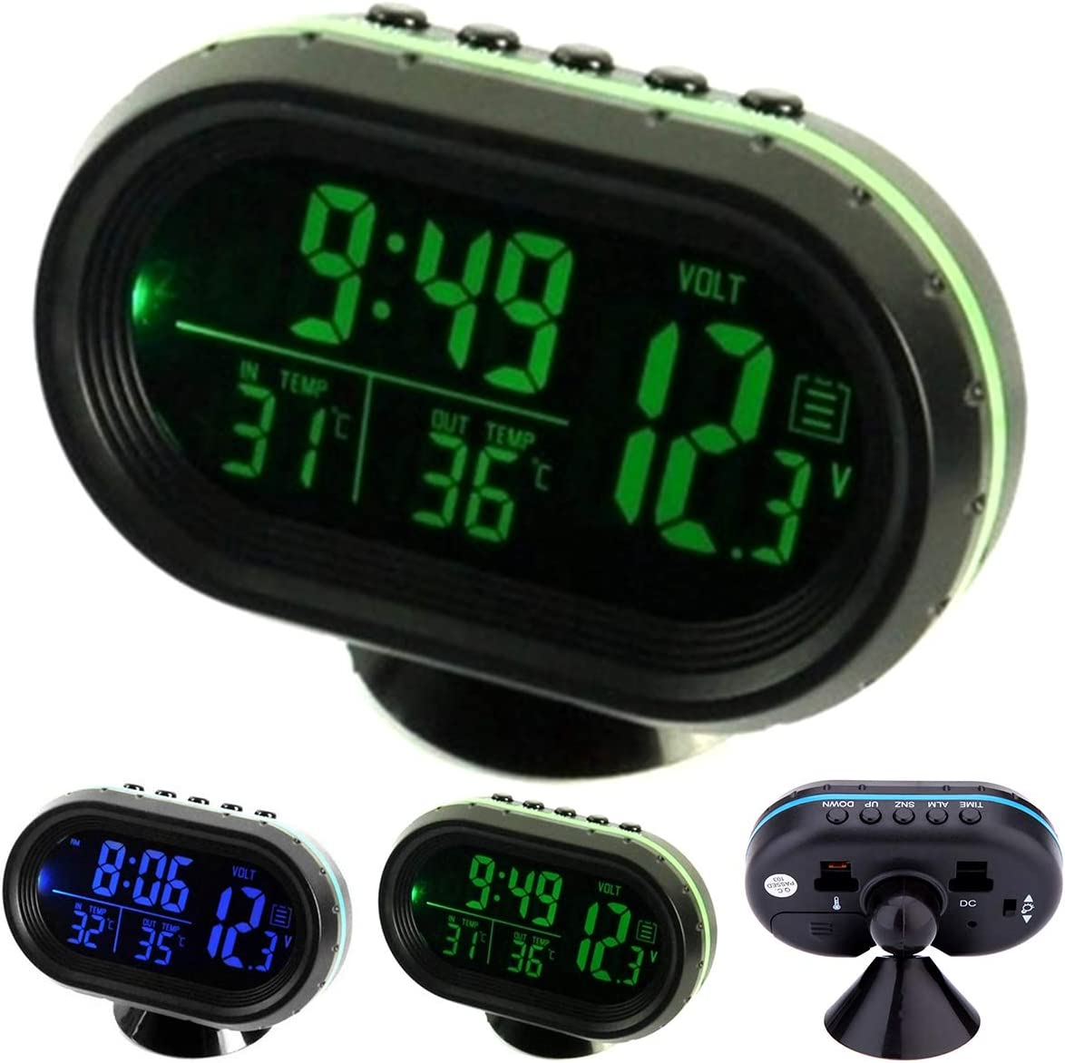 Blue//Greed Dibiao Auto Vehicles Dual Temperature Gauge Voltmeter Clock,Car Thermometer Digital Clock