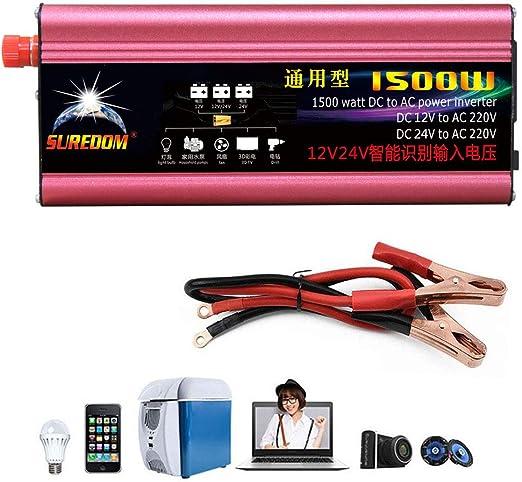 Conectar Directamente A La Bater/íA Del Autom/óVil,12V-110V Inversor De Corriente Inversor Onda Pura 1500W-12V // 24V A 220V // 110V Convertidor De Voltaje Del Veh/íCulo Con Puerto USB Pico 3000W