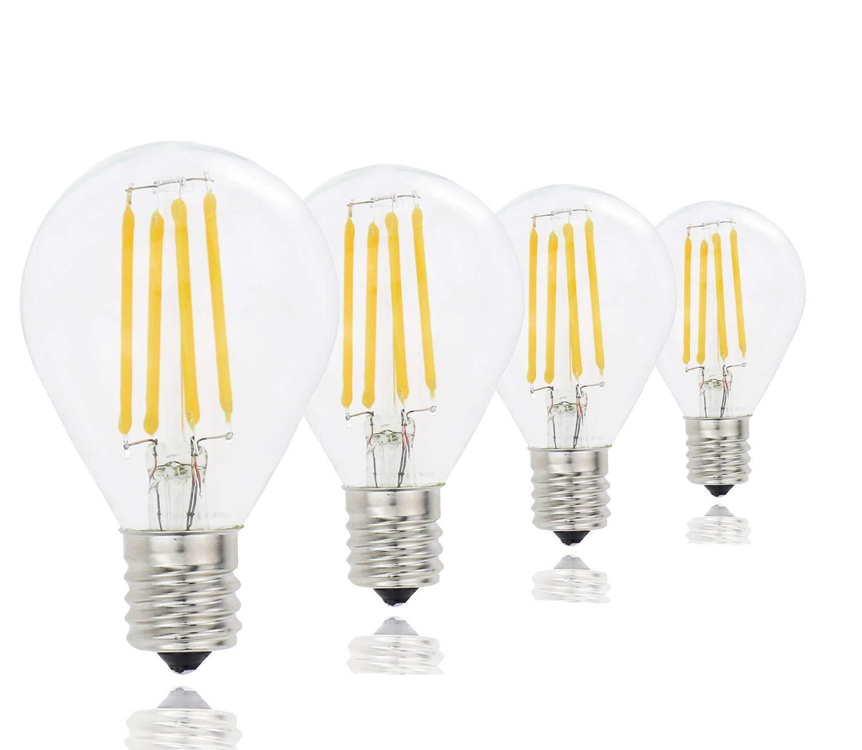 Lamsky G45 A15 LED Globe Bulb,4W 2700K Warm White,40W Incandescent Equivalent,E17 Base LED Filament Bulb,G45 Clear Glass Globe Shape,Non Dimmable,4 Pack