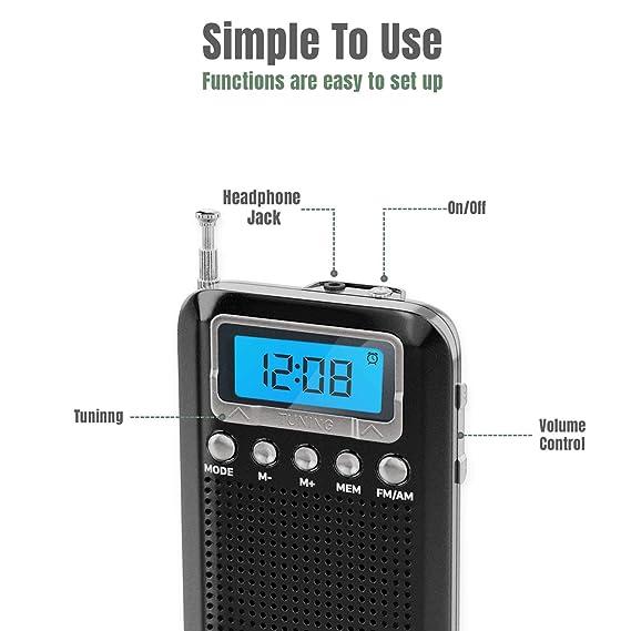 Amazon.com: Radio digital de bolsillo. Negro: Electronics