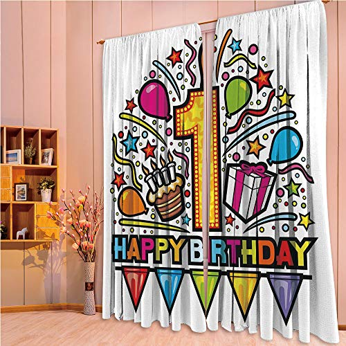 (ZHICASSIESOPHIER Finel Kids Curtains for Living Room Bedroom Window Curtains Baby Room Lovely Children Curtains Drapes,Pop Art Style Celebration Party with Cake 84Wx84L)