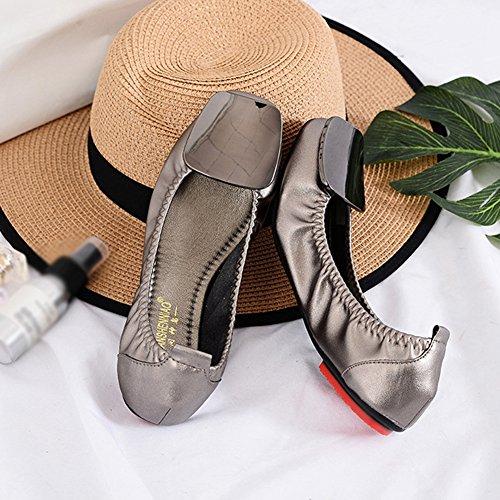 T-juli Penny Loafers Schoenen Voor Dames - Slip-on Anti-slip Platte Vierkante Teen Casual Loempia Schoenen Brons