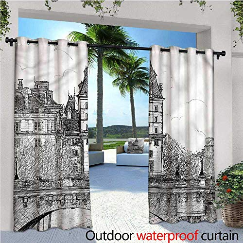 (warmfamily Paris Indoor/Outdoor Single Panel Print Window Curtain View from Pont Neuf Silver Grommet Top Drape W96 x L108)