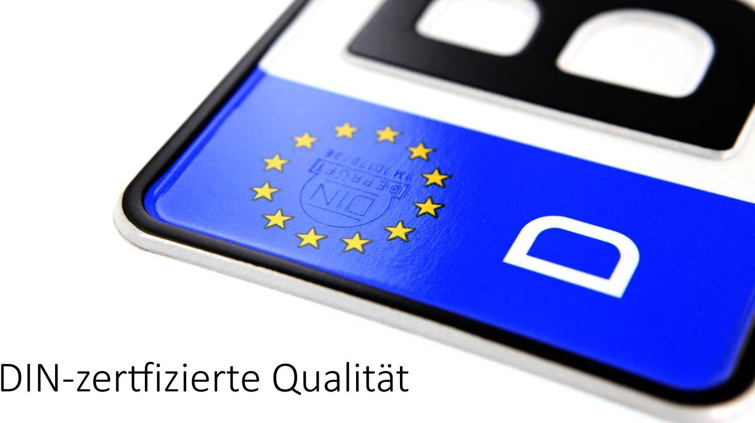 Lot de 2/plaques dimmatriculation certifi/ées DIN en taille standard 520/x 110/mm avec disque de stationnement compatibles avec tous les v/éhicules allemands